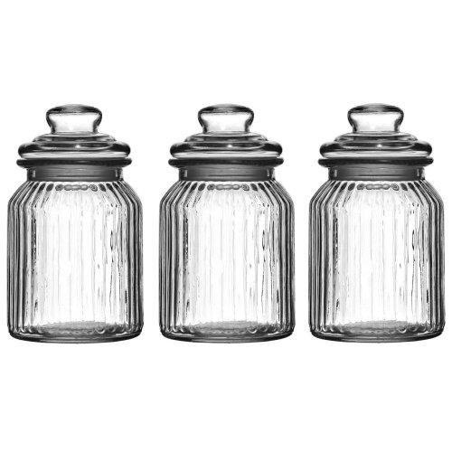 3pc Clear Ribbed Glass Storage Jars - 990ml | Glass Jars With Lids