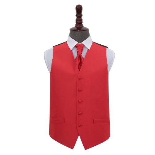Red Solid Check Wedding Waistcoat & Cravat Set 38'