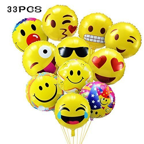 33pcs Mixed Party BalloonsEmoji Balloons 18 Emoticon Foil Helium For Weddings Anniversary Birthday Decorations Favors Supplies On OnBuy