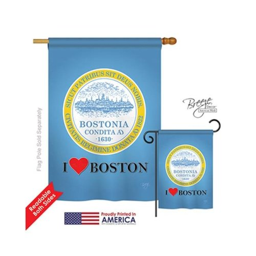 Breeze Decor 08150 Boston 2-Sided Vertical Impression House Flag - 28 x 40 in.