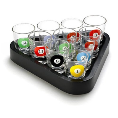 Set of 10 Pool Table Billiards Shot Glasses