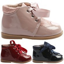Harper Girls Toddlers Flats Satin Ribbon Lace Up Ankle Boots