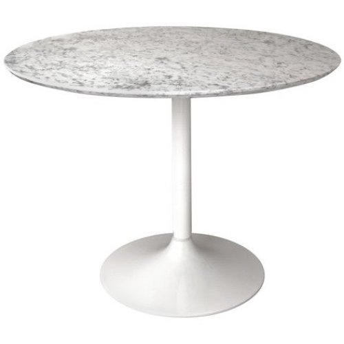 Gensifer Marble Or Granite Round Table Kitchen/ Dining Table With White  Retro Base 100cm Diameter