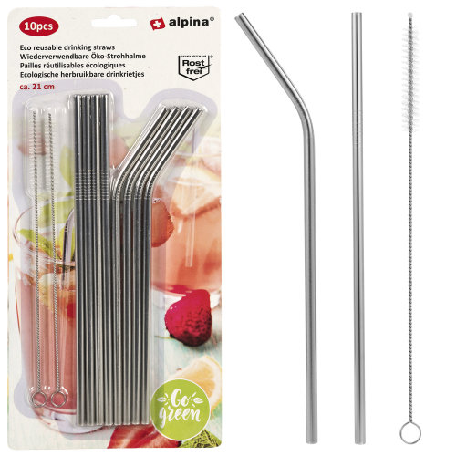 10 or 20 PCS Stainless Steel Metal Drinking Straws