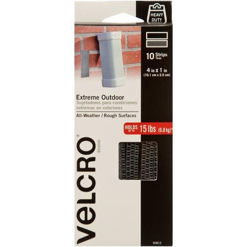 """VELCRO(R) Brand Extreme Outdoor Strips 1""""X4"""" 10/Pkg-Titanium"""