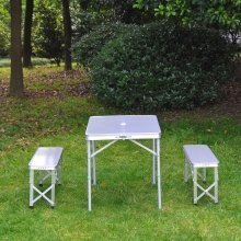 Outsunny 3pc Folding Picnic Table Bench Set Foldable Aluminum