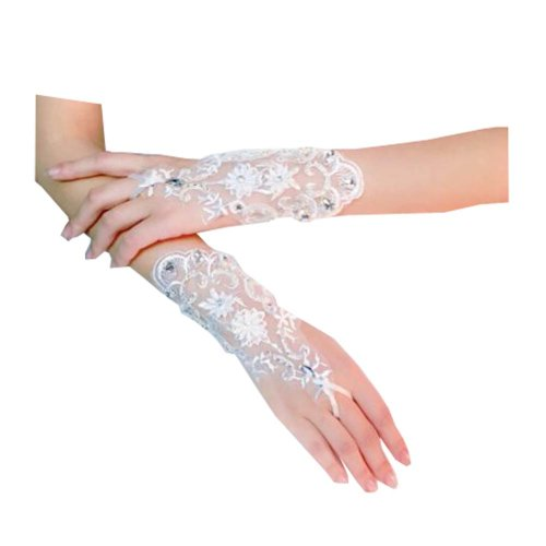 Women's Elegant Lace Fingerless Gloves for Wedding Party Brides Accessory - E