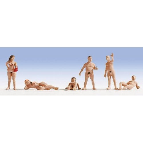 Nudists: 3 nude men and 3 naked women - OO/HO figures - Noch 15843 - free post