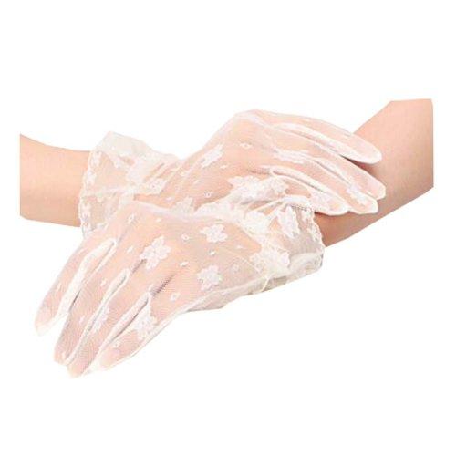 Girls / Ladies Lace Bridal Bride Short Gloves Wrist Wedding Party Costume Prom,F