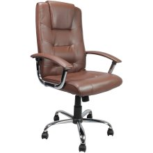 Eliza Tinsley Westminster - High Back Leather Faced Executive Armchair with Chrome Base Brown