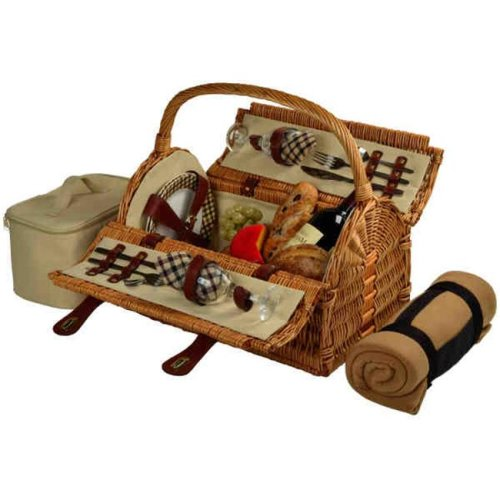 Picnic at Ascot 709B-L Sussex Picnic Basket for 2 with Blanket-Wicker-London Plaid