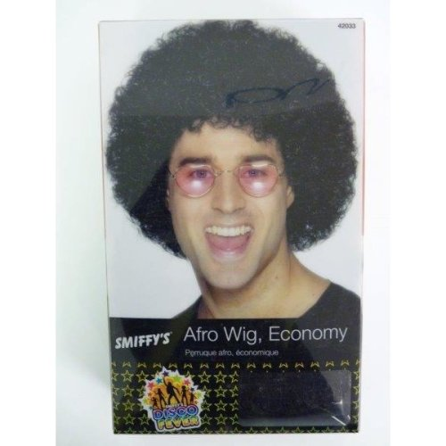 Black Unisex Curly Afro Wig -  wig afro black fancy dress disco smiffys 70s 1970s economy