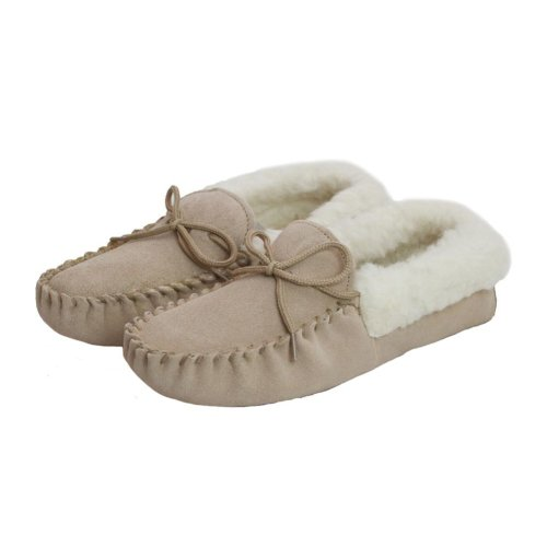 Lambland Beige Soft Sole Wool Lined Moccasin Slippers