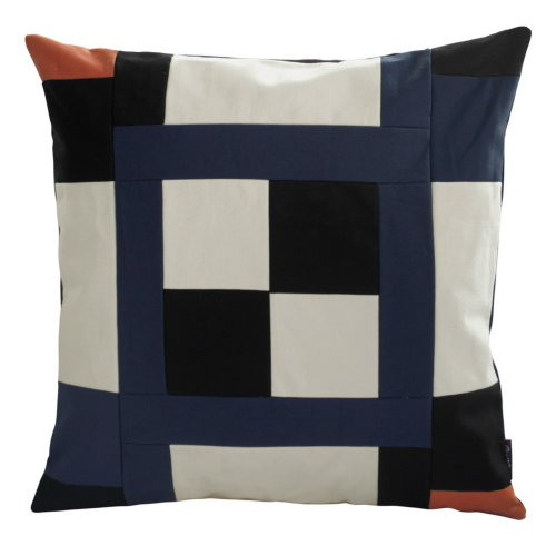 [Black Series] Handmade Canvas Decorative Pillow Unique Grid Cushion 48cm