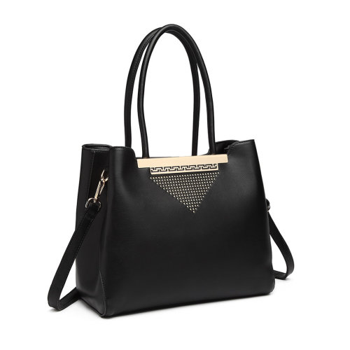 (Black) Miss Lulu Faux Leather Gold-Tone Detail Shoulder Bag
