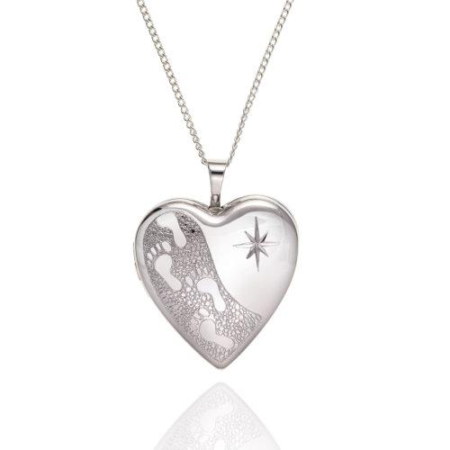 """925 Sterling Silver Footprints Heart Locket & 18"""" Chain."""