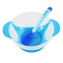 Baby Suction Bowl/ Feeding Bowl And Spoon Set, Blue