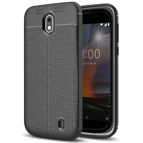 The Keep Talking Shop Rugged Grip Cover for Nokia 1 Case Slim-Fit Leather Pattern TPU Silicone Gel Back Design Protective Shockproof Bumper for Nokia 1 Phone Case 2018 Matte Black