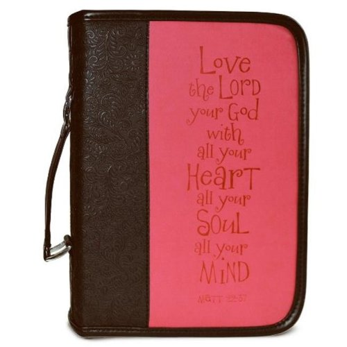 Divinity Boutique 86900 Bible Cover - Heat Stamp Love, Black & Pink - Extra Large