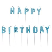 Blue Happy Birthday Pick Glitter Candles