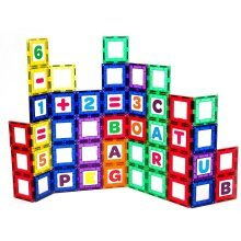 Playmags 80 Piece Magnetic Tile Building Set - Magnet Windows - Letters, Numbers, ABC