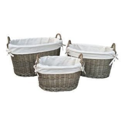 Medium White Lined Antique Wash Oval Wicker Storage Basket