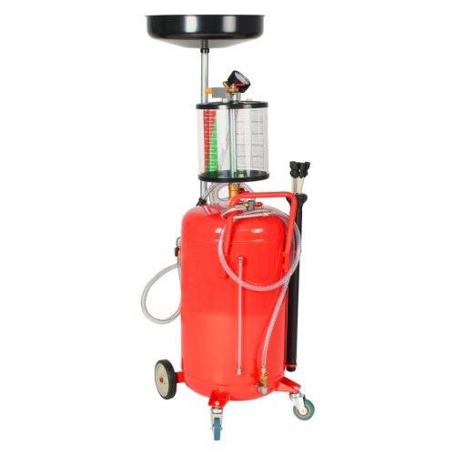 vidaXL Waste Oil Drainer 70L Steel Red Drain Filter Garage Collector Tank