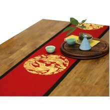 """75"""" by 13""""Red Ryuho Chinese Folk art Table Runner Traditional Cotton Table-cloth"""
