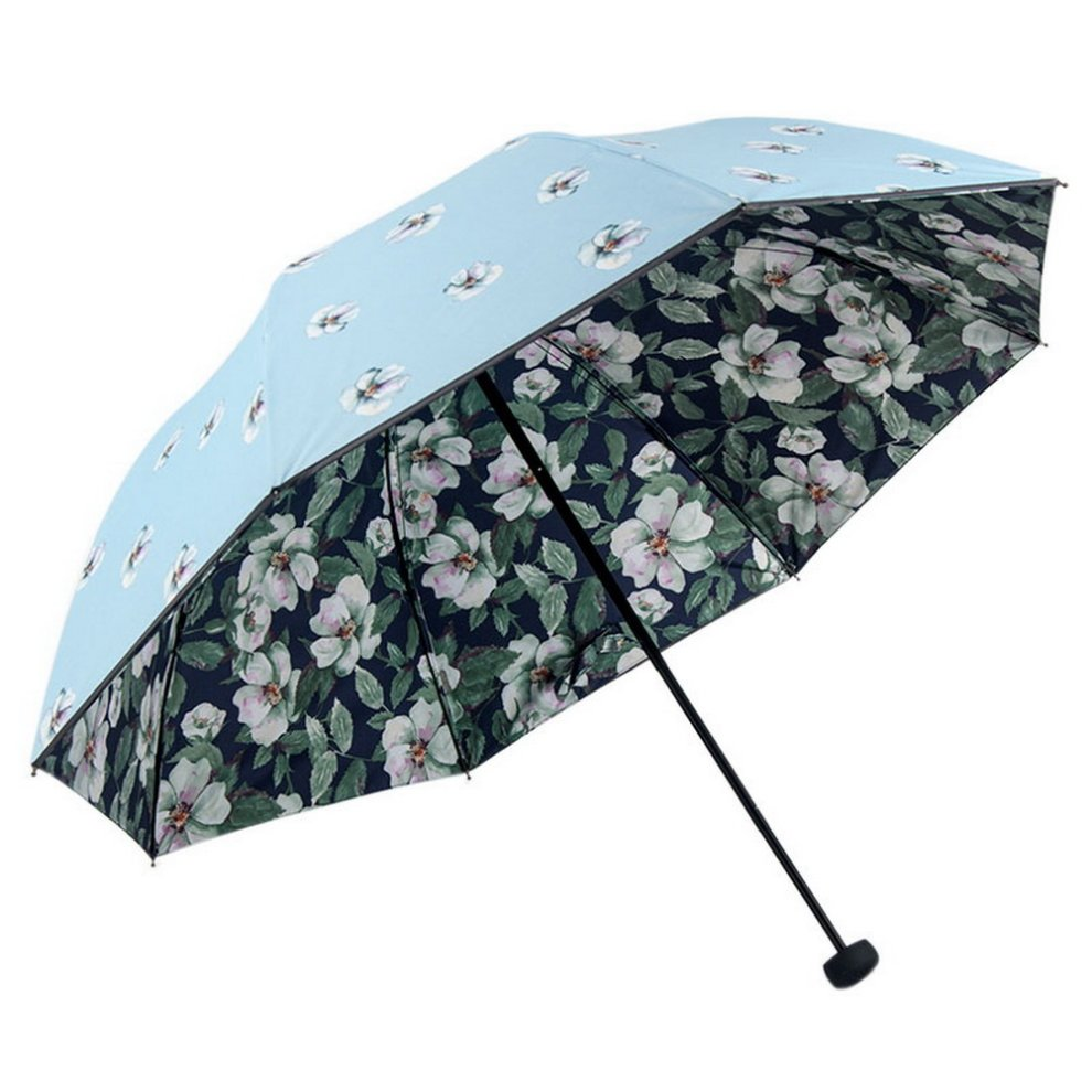 Portable Folding Umbrella Sun Protection Blue And Flowers On