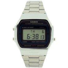 CASIO Gents Digital Chronograph Backlight Silvertone Bracelet Watch A164WA-1VES