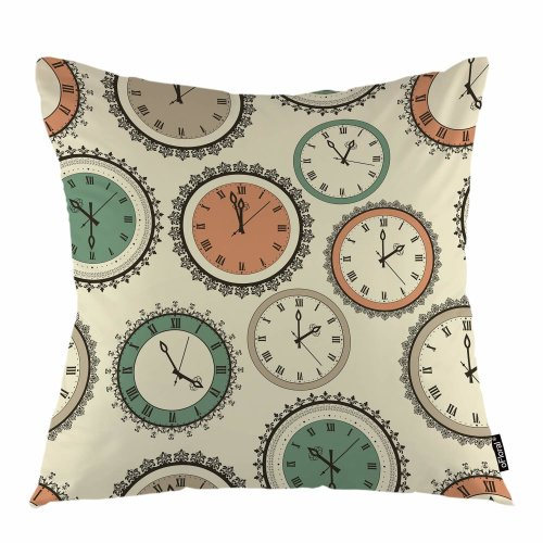"""Melyaxu Clock Throw Pillow Cover Floral Clocks Time Swirl Lacy Loop Decorative Square Pillow Case 18""""X18"""" Pillowcase Home Decor for Sofa Bedroom"""
