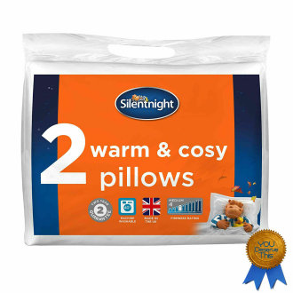 Silentnight Warm and Cosy Pillow Pair - Microfibre - White - Pack of 2
