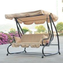 Outsunny 3 Seater Swing Chair | Beige Garden Swing Seat