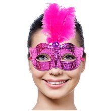 Mask Party Venetian Magenta & Feathers -  magenta party mask venetian feathers fancy dress masquerade photo booth access ball prom masker venice met