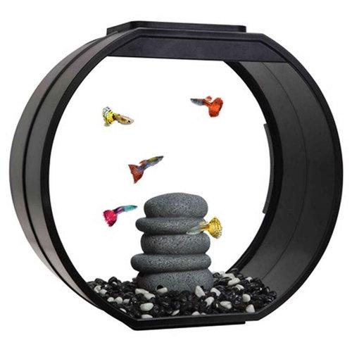Fish R Fun Deco O Mini Fish Tank | Black LED Aquarium 10L