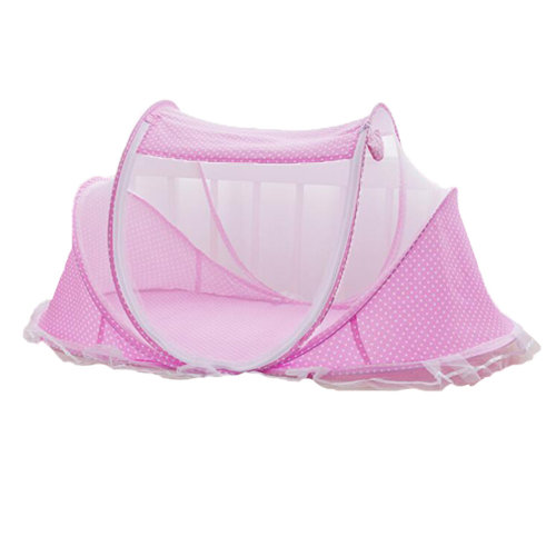 Foldable  Insect Netting Cribs Mosquito Net Baby Yurts-Pink