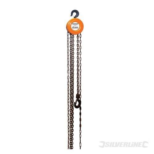 Silverline Chain Block 1000kg / 2.5m Lift Height - 1 633705 Ton 25m -  chain block silverline 1 633705 ton 25m lift height 1000kg