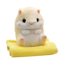 2 In 1 Cute Plush Hamster Stuffed Animal Doll Pillow Cushion Blanket Set, Yellow