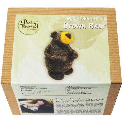 Pretty Twisted Kelly L. Corbett Needle Felting Diy Kit-Brown Bear