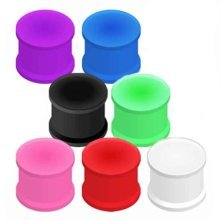 Urban Male Pack of Seven Flexible Silicone Ear Stretching Saddle Plugs Flared 4mm