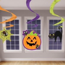 Halloween Economy pack hanging pumpkin/cat/spider cut-outs - 45.7cm