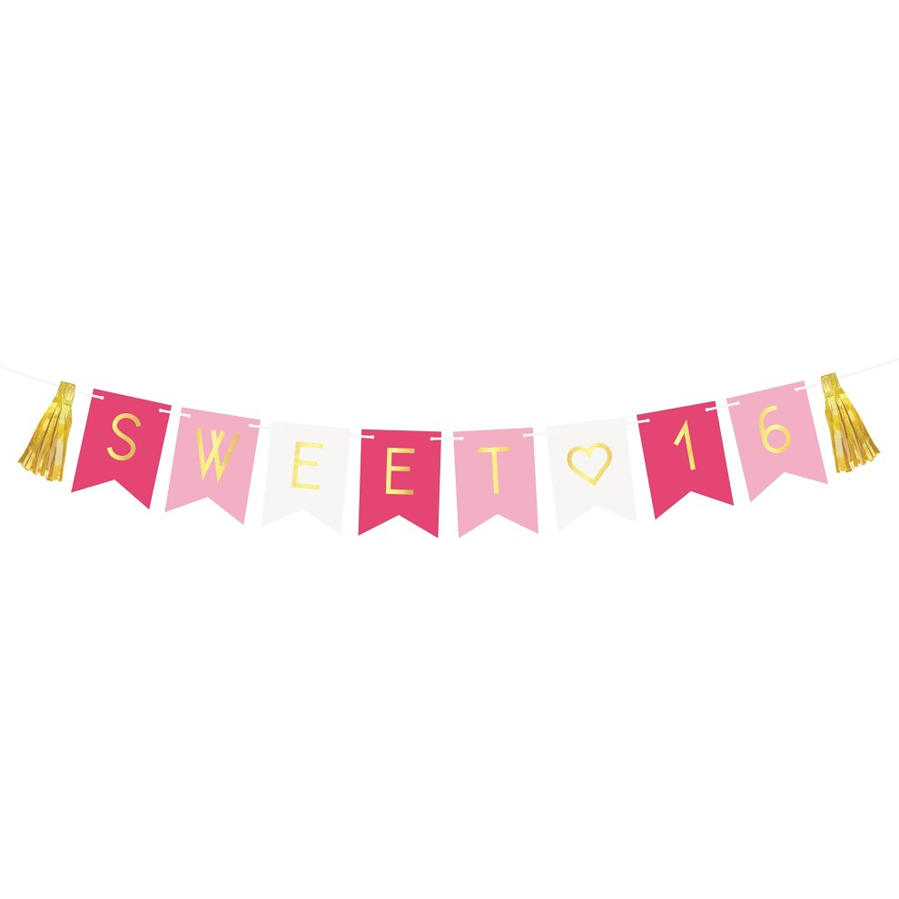 Sweet 16 Birthday Banner AEUR Sixteen Decorations Party Favors Supplies Gifts Themes And Ideas