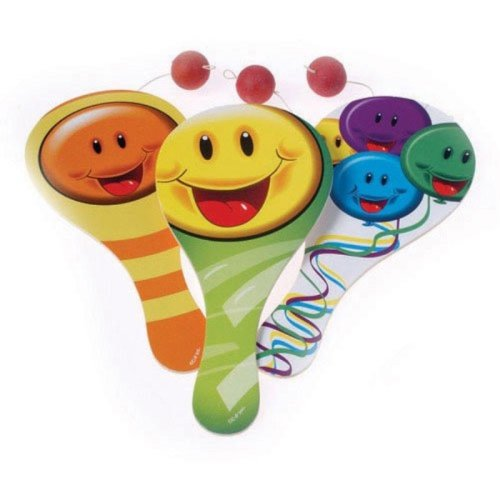 Dozen Assorted Smile Smiley Face Design Classic Wood Paddle Ball Games  9