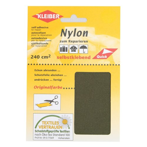 Kleiber Self Adhesive Waterproof Nylon Repair Patches, Olive Green