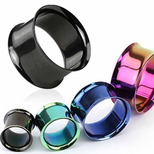Urban Male Pack of Four Titanium Anodised Ear Stretching Flesh Tunnels Double Flared 4mm