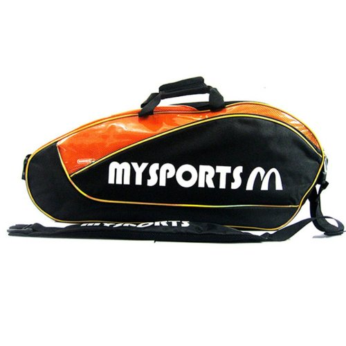 Adjustable Shoulder Strap Badminton Racket Cover Badminton Racket Bag Tennis Bag (6 Racquet) , Black
