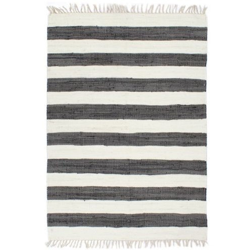 vidaXL Hand-woven Chindi Rug Cotton 200x290cm Anthracite and White Carpet Mat