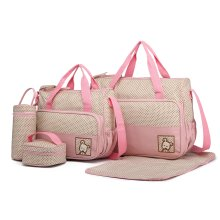 (Pink) 5pc Miss Lulu 2-Tone Baby Changing Set | Nappy Bag Set