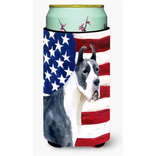 Carolines Treasures BB9643TBC Harlequin Great Dane Patriotic Tall Boy Beverage Insulator Hugger