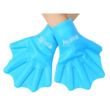 Soft-sided Color Pure Silicone Swimming Paddle Training Glove, Blue